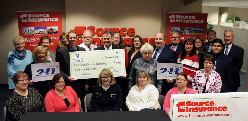1st Source Insurance presenting Westfield check to United Way