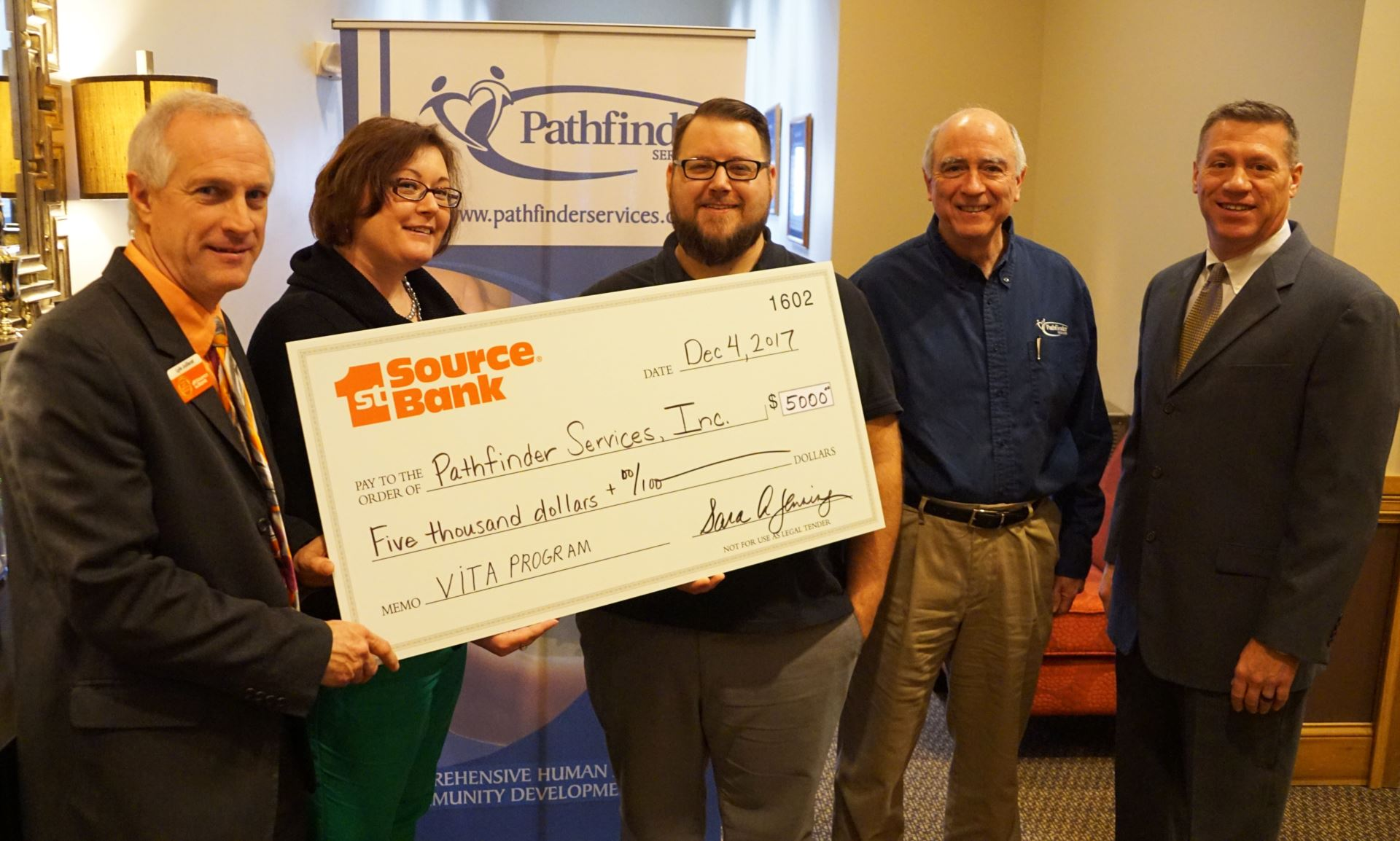 Huntington bank routing number lansing mi - 1st Source Donation Supports Pathfinder Services Inc