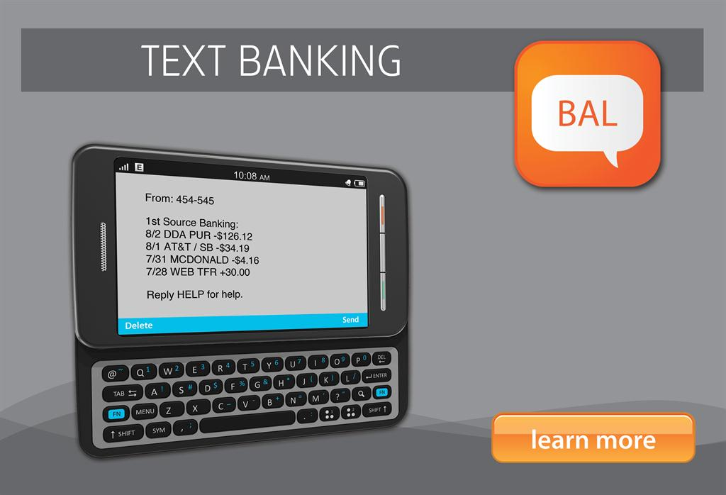 1st Source Bank Text Banking